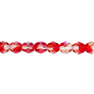 bead, czech fire-polished glass, two-tone, crystal/red ab, 6mm faceted round. sold per 16-inch strand.