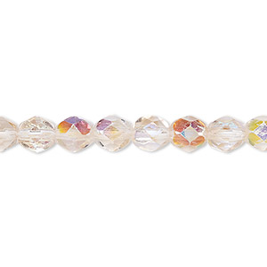 bead, czech fire-polished glass, two-tone, crystal/rose ab, 6mm faceted round. sold per 16-inch strand.