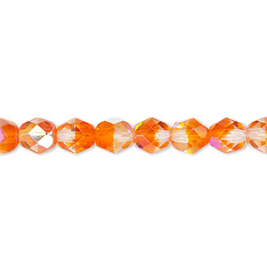bead, czech fire-polished glass, two-tone, translucent clear and orange ab, 6mm faceted round. sold per pkg of 1 mass.