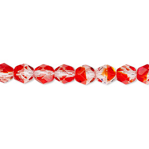 bead, czech fire-polished glass, two-tone, translucent to transparent crystal and red, 6mm faceted round. sold per pkg of 1 mass.