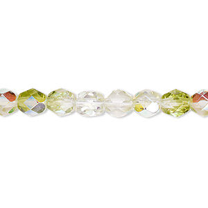 bead, czech fire-polished glass, two-tone, transparent clear and peridot green ab, 6mm faceted round. sold per 16-inch strand.