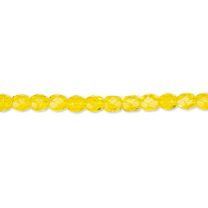 bead, czech fire-polished glass, yellow, 4mm faceted round. sold per pkg of 1,200 (1 mass).