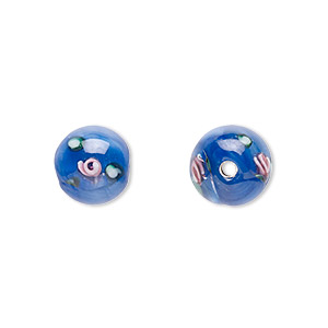 bead, czech glass, blue with flowers, 8mm round. sold per pkg of 6.