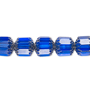 bead, czech glass, cobalt and metallic silver, 10mm round cathedral. sold per 16-inch strand, approximately 40 beads.