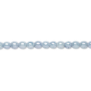 bead, czech glass druk, light blue granite, 4mm round with 0.8-1mm hole. sold per 16-inch strand.