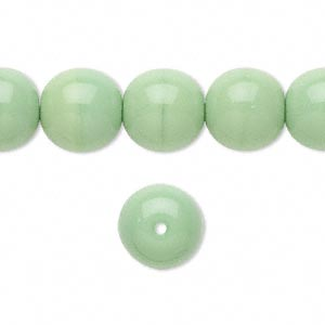 bead, czech glass druk, opaque green, 12mm round. sold per 16-inch strand, approximately 35 beads.