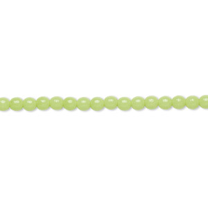 bead, czech glass druk, opaque green, 3mm round. sold per 16-inch strand, approximately 130 beads.