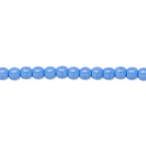 bead, czech glass druk, opaque light blue, 4mm round. sold per 16-inch strand.
