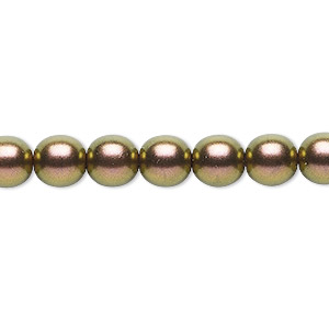 bead, czech glass druk, opaque metallic copper, 8mm round. sold per 16-inch strand, approximately 50 beads.