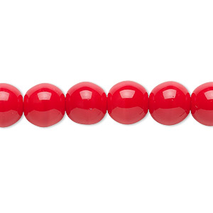 bead, czech glass druk, opaque red, 10mm round. sold per 16-inch strand.