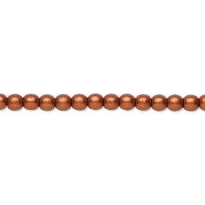 bead, czech glass druk, opaque satin copper, 4mm round. sold per 16-inch strand, approximately 100 beads.