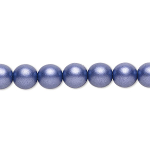 bead, czech glass druk, opaque satin dark purple, 8mm round with 0.8-1.3mm hole. sold per 16-inch strand.