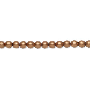 bead, czech glass druk, opaque satin light copper, 4mm round with 0.8-1mm hole. sold per 16-inch strand.