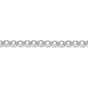 bead, czech glass druk, opaque satin silver, 4mm round. sold per 16-inch strand, approximately 100 beads.