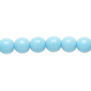 bead, czech glass druk, opaque turquoise blue, 8mm round. sold per 16-inch strand.