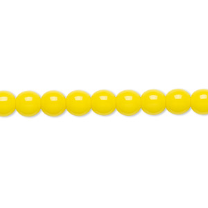 bead, czech glass druk, opaque yellow, 6mm round. sold per 16-inch strand.