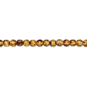 bead, czech glass druk, translucent tortoise luster, 4mm round. sold per 16-inch strand, approximately 130 beads.