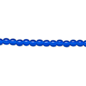 bead, czech glass druk, transparent cobalt, 4mm round. sold per 16-inch strand.