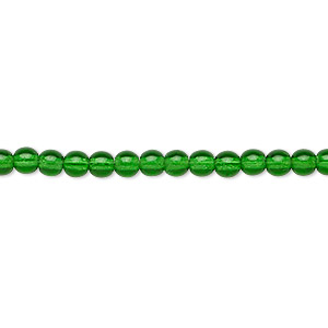 bead, czech glass druk, transparent emerald green, 4mm round. sold per 16-inch strand.