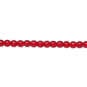 bead, czech glass druk, transparent ruby red, 4mm round. sold per 16-inch strand, approximately 100 beads.