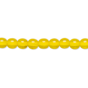 bead, czech glass druk, transparent yellow, 6mm round. sold per 16-inch strand.