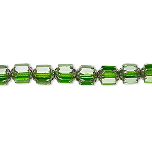 bead, czech glass, emerald green and metallic emerald green, 6mm round cathedral. sold per 16-inch strand.