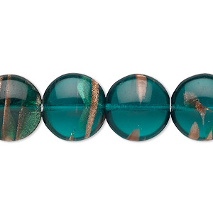 bead, czech glass, green and gold, 14mm puffed flat round with flecks. sold per 8-inch strand, approximately 10 beads.