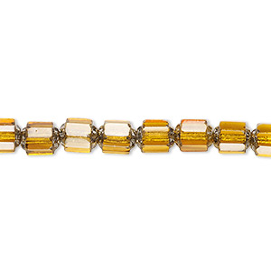 bead, czech glass, honey and metallic silver, 6mm round cathedral. sold per 16-inch strand, approximately 65 beads.
