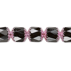 bead, czech glass, opaque jet and metallic pink, 10mm round cathedral. sold per 16-inch strand.