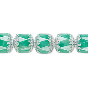 bead, czech glass, opaque turquoise blue and white, 10mm round cathedral. sold per 16-inch strand.