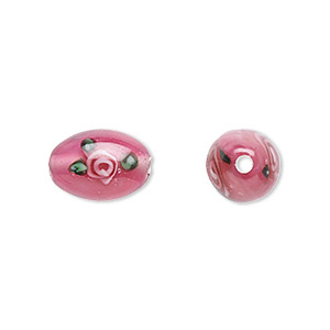 bead, czech glass, pink luster with flowers, 12x8mm olive. sold per pkg of 4.