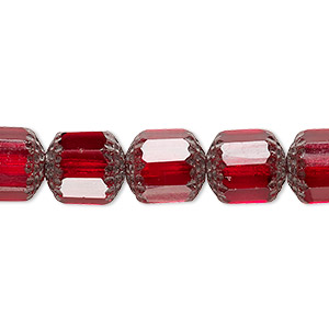 bead, czech glass, red and metallic red, 10mm round cathedral. sold per 16-inch strand.