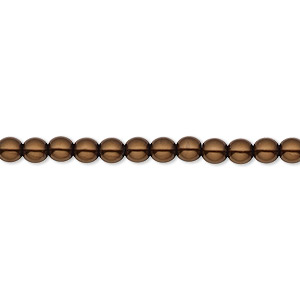 bead, czech pearl-coated glass druk, chocolate, 4mm round with 0.8-1mm hole. sold per 16-inch strand.