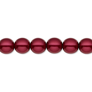 bead, czech pearl-coated glass druk, crimson, 8mm round with 0.8-1.3mm hole. sold per 16-inch strand.