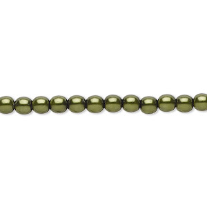 bead, czech pearl-coated glass druk, emerald green, 4mm round. sold per 16-inch strand.