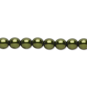 bead, czech pearl-coated glass druk, emerald green, 6mm round. sold per 16-inch strand.
