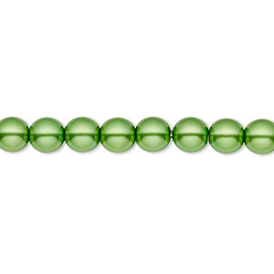 bead, czech pearl-coated glass druk, green, 6mm round with 0.7-1.1mm hole. sold per 16-inch strand.