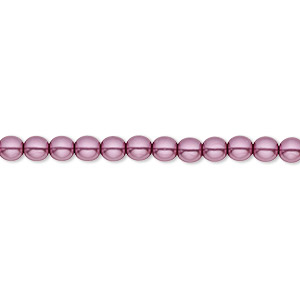 bead, czech pearl-coated glass druk, lilac, 4mm round with 0.8-1mm hole. sold per 16-inch strand.
