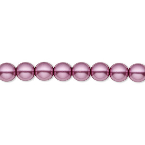 bead, czech pearl-coated glass druk, lilac, 6mm round with 0.7-1.1mm hole. sold per 16-inch strand.