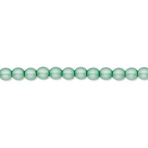 bead, czech pearl-coated glass druk, matte sea foam green, 4mm round with 0.8-1mm hole. sold per 16-inch strand.