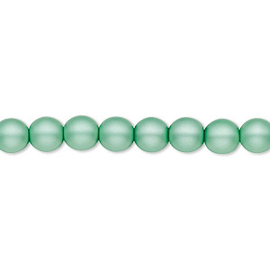 bead, czech pearl-coated glass druk, matte sea foam green, 6mm round with 0.7-1.1mm hole. sold per 16-inch strand.