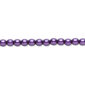 bead, czech pearl-coated glass druk, purple, 4mm round. sold per 16-inch strand.