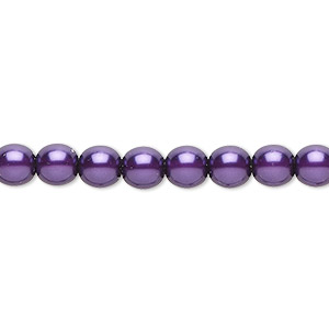 bead, czech pearl-coated glass druk, purple, 6mm round. sold per 16-inch strand.