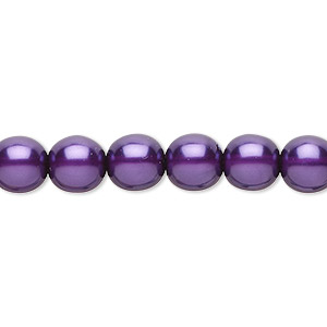 bead, czech pearl-coated glass druk, purple, 8mm round. sold per 16-inch strand.