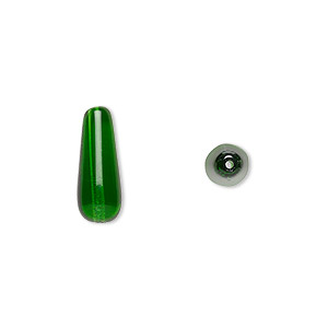 bead, czech pressed glass, emerald green, 16x6mm teardrop. sold per 16-inch strand, approximately 25 beads.