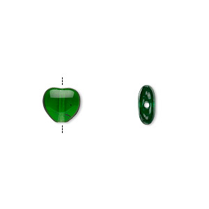 bead, czech pressed glass, emerald green, 8x7.5mm heart. sold per 16-inch strand, approximately 50 beads.