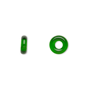bead, czech pressed glass, emerald green, 9.5x3mm ring with 3.5mm hole. sold per pkg of 50.