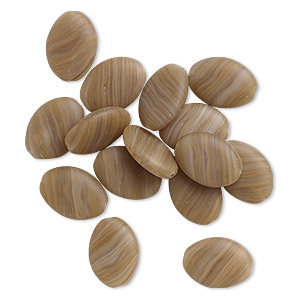 bead, czech pressed glass, frosted marbled opaque nut brown, 16x11mm-16x12mm flat oval. sold per 16-gram vial, approximately 10-15 beads.