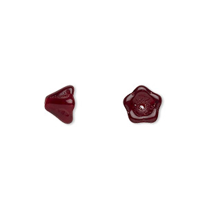 bead, czech pressed glass, garnet red, 8.5x6.5mm flower. sold per 16-inch strand, approximately 80 beads.