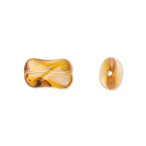 bead, czech pressed glass, honey, 14.5x9.5mm twist. sold per 16-inch strand, approximately 30 beads.
